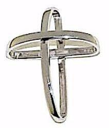 Immagine di Croce con bracci ad anello Ciondolo Pendente gr 1,85 Oro bianco 18kt da Donna