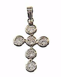 Picture of Cross with 6 Light Spots Pendant gr 1 White Gold 18k with Zircons for Woman