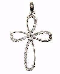 Picture of Flower Cross with Light Spots Pendant gr 1,95 White Gold 18k with Zircons for Woman