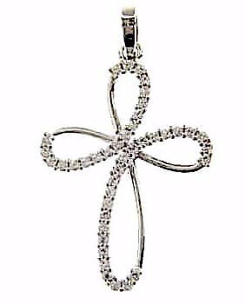 Immagine di Croce a fiore con punti luce Ciondolo Pendente gr 1,95 Oro bianco 18kt con Zirconi da Donna