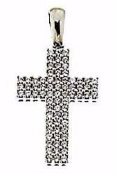 Picture of Straight Cross with Light Spots Pendant gr 3 White Gold 18k with Zircons for Woman