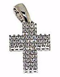 Immagine di Croce dritta con punti luce Ciondolo Pendente gr 2,4 Oro bianco 18kt con Zirconi da Donna