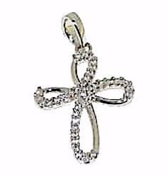 Picture of Flower Cross with Light Spots Pendant gr 1,5 White Gold 18k with Zircons for Woman