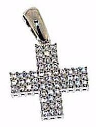 Immagine di Croce quadrata con punti luce Ciondolo Pendente gr 2,3 Oro bianco 18kt con Zirconi da Donna