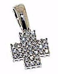 Immagine di Croce quadrata piccola con punti luce Ciondolo Pendente gr 1,7 Oro bianco 18kt con Zirconi da Donna