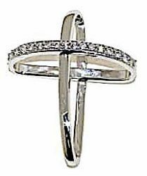 Picture of Cross with slanted ring arms and Light Spots Pendant gr 1,85 White Gold 18k with Zircons for Woman