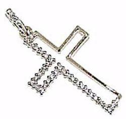 Immagine di Croce stilizzata con punti luce Ciondolo Pendente gr 1,35 Oro bianco 18kt con Zirconi da Donna
