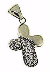 Immagine di Croce stondata con punti luce Ciondolo Pendente gr 1,1 Oro bianco 18kt con Zirconi da Donna