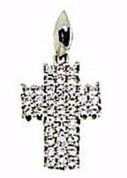 Immagine di Croce dritta con punti luce Ciondolo Pendente gr 1,9 Oro bianco 18kt con Zirconi da Donna