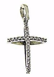 Immagine di Croce doppia con punti luce Ciondolo Pendente gr 2 Oro bianco 18kt con Zirconi da Donna