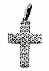 Immagine di Croce dritta con punti luce Ciondolo Pendente gr 1,1 Oro bianco 18kt con Zirconi da Donna