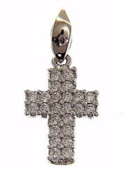 Picture of Straight Cross with Light Spots Pendant gr 0,8 White Gold 18k with Zircons for Woman