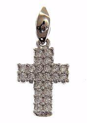 Immagine di Croce dritta con punti luce Ciondolo Pendente gr 0,8 Oro bianco 18kt con Zirconi da Donna