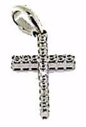 Picture of Straight Cross with Light Spots Pendant gr 1,1 White Gold 18k with Zircons for Woman