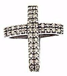 Picture of Double Cross with Light Spots Pendant gr 1,85 White Gold 18k with Zircons for Woman