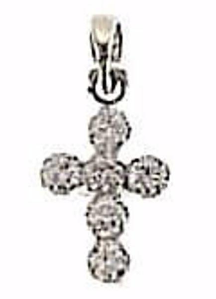 Immagine di Croce 6 Castoni punti luce Ciondolo Pendente gr 0,55 Oro bianco 18kt con Zirconi da Donna