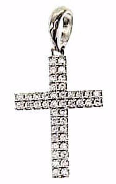 Imagen de Cruz recta con puntos de Luz Colgante gr 2 Oro blanco 18kt con Zircones para Mujer