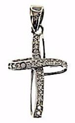 Picture of Twisted Cross with Light Spots Pendant gr 1,25 White Gold 18k with Zircons for Woman