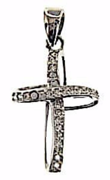 Immagine di Croce a nastro con punti luce Ciondolo Pendente gr 1,25 Oro bianco 18kt con Zirconi da Donna