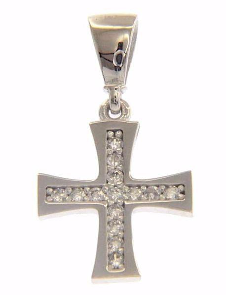 Immagine di Croce Patente con punti luce Ciondolo Pendente gr 0,8 Oro bianco 18kt con Zirconi da Donna