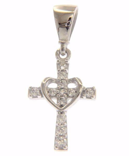 Immagine di Croce svasata con punti luce e Cuore Ciondolo Pendente gr 0,85 Oro bianco 18kt con Zirconi da Donna