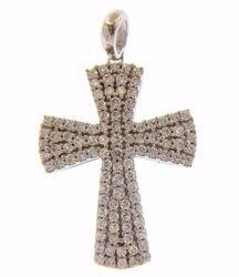 Immagine di Croce svasata punti luce Ciondolo Pendente gr 5,1 Oro bianco 18kt con Zirconi da Donna
