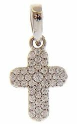 Picture of Round Cross with central bezel and Light Spots Pendant gr 1 White Gold 18k with Zircons for Woman