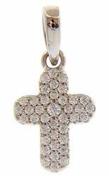 Immagine di Croce stondata punti luce e castone centrale Ciondolo Pendente gr 1 Oro bianco 18kt con Zirconi da Donna