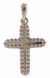 Picture of Double rounded Cross with Light Spots Pendant gr 1,6 White Gold 18k with Zircons for Woman
