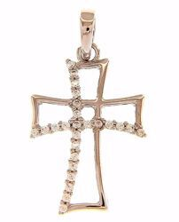 Picture of Byzantine Cross wirh Light Spots Pendant gr 1,1 White Gold 18k with Zircons for Woman
