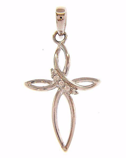 Imagen de Cruz de flor puntos de luz Colgante gr 0,9 Oro blanco 18kt con Zircones para Mujer