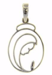 Picture of Stylized Madonna in prayer Oval Pendant gr 1,25 White Gold 18k for Woman