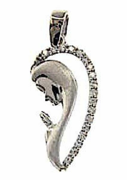 Imagen de Nuestra Señora Madonna en Oración con puntos de Luz Colgante oval gr 1,6 Oro blanco 18kt con Zircones para Mujer