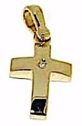 Picture of Smooth convex Cross Pendant gr 2,2 Yellow Gold 18k with Brilliant for Woman