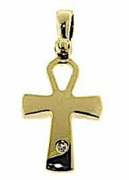 Picture of Cross of Life Ankh Crux Ansata Pendant gr 2,2 Yellow Gold 18k with Brilliant for Woman