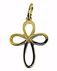 Picture of Flower Cross Pendant gr 1,1 Yellow Gold 18k relief printed plate for Woman