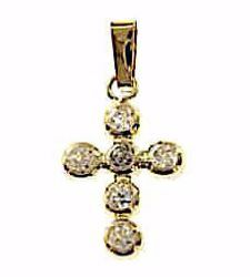 Picture of Cross with 6 Light Spots Pendant gr 0,7 Yellow Gold 18k with Zircons for Woman