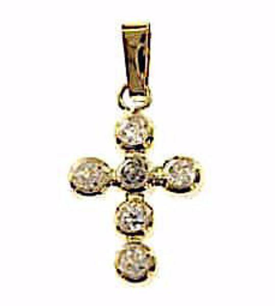 Immagine di Croce con 6 punti luce Ciondolo Pendente gr 0,7 Oro giallo 18kt con Zirconi da Donna