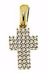 Immagine di Croce dritta con punti luce Ciondolo Pendente gr 1,9 Oro giallo 18kt con Zirconi da Donna