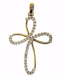 Picture of Flower Cross with Light Spots Pendant gr 2,3 Yellow Gold 18k with Zircons for Woman