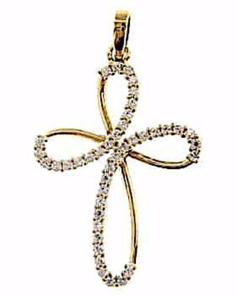 Immagine di Croce a fiore con punti luce Ciondolo Pendente gr 2,3 Oro giallo 18kt con Zirconi da Donna