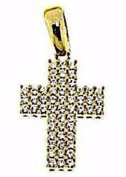 Immagine di Croce dritta con punti luce Ciondolo Pendente gr 2,5 Oro giallo 18kt con Zirconi da Donna