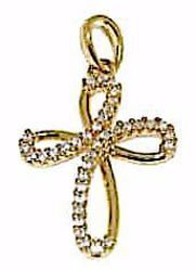 Picture of Flower Cross with Light Spots Pendant gr 1,6 Yellow Gold 18k with Zircons for Woman