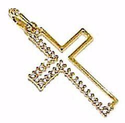 Immagine di Croce stilizzata con punti luce Ciondolo Pendente gr 1,4 Oro giallo 18kt con Zirconi da Donna