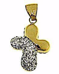 Immagine di Croce stondata con punti luce Ciondolo Pendente gr 1,1 Oro giallo 18kt con Zirconi da Donna