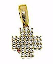 Immagine di Croce quadrata con punti luce Ciondolo Pendente gr 1,75 Oro giallo 18kt con Zirconi da Donna