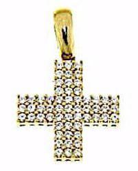 Immagine di Croce quadrata con punti luce Ciondolo Pendente gr 2,6 Oro giallo 18kt con Zirconi da Donna