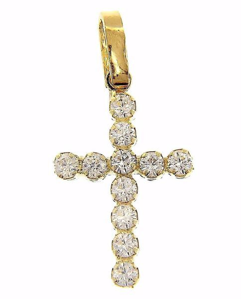 Picture of 11-bezels Cross with light dots Pendant gr 0,9 Yellow Gold 18k with Zircons for Woman