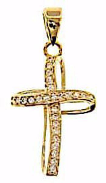Immagine di Croce a nastro con punti luce Ciondolo Pendente gr 1,25 Oro giallo 18kt con Zirconi da Donna