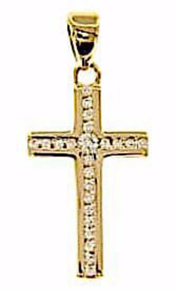 Picture of Straight Cross with Light Spots Pendant gr 1,2 Yellow Gold 18k with Zircons for Woman
